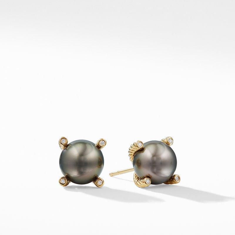 David Yurman Tahitian Grey Pearl Earrings with Diamonds in 18K Gold