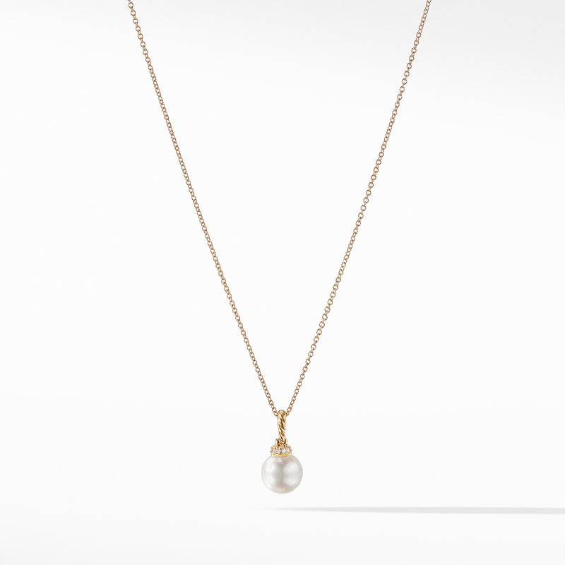 David Yurman Pendant Necklace with Pearls and Diamonds in 18K Gold