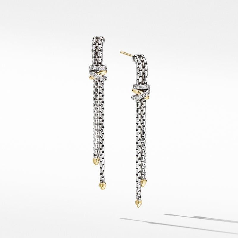 David Yurman Helena Chain Drop Earrings with 18K Yellow Gold and Diamonds