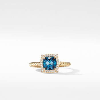 Petite Chatelaine® Pavé Bezel Ring in 18K Yellow Gold with Hampton Blue Topaz