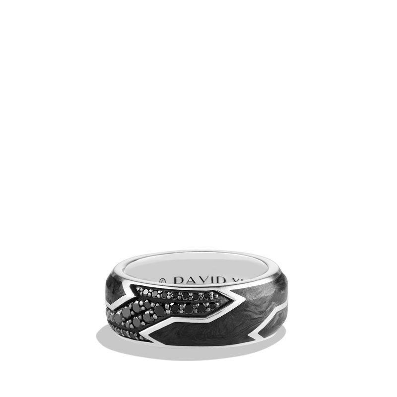 David Yurman Forged Carbon Ring with Black Diamonds in Silver