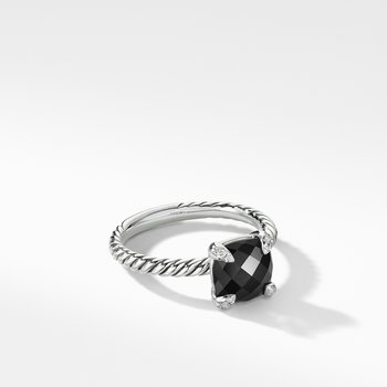 Chatelaine® Ring with Black Onyx and Diamonds