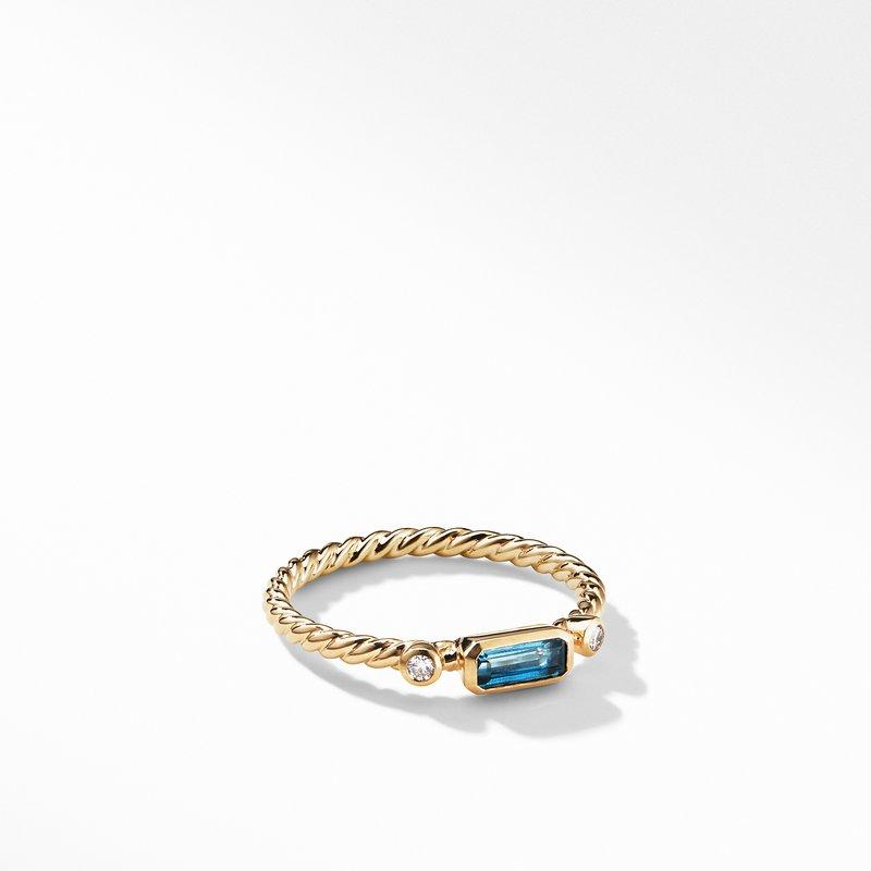 David Yurman Novella Ring in Hampton Blue Topaz with Diamonds