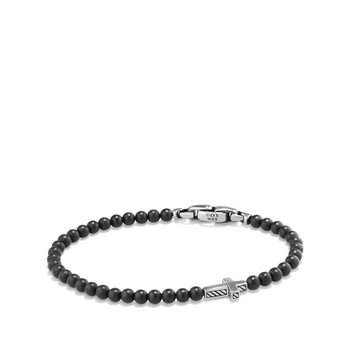 Spiritual Beads Cross Station Bracelet with Black Onyx
