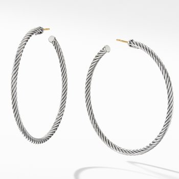 Large Cable Hoop Earrings
