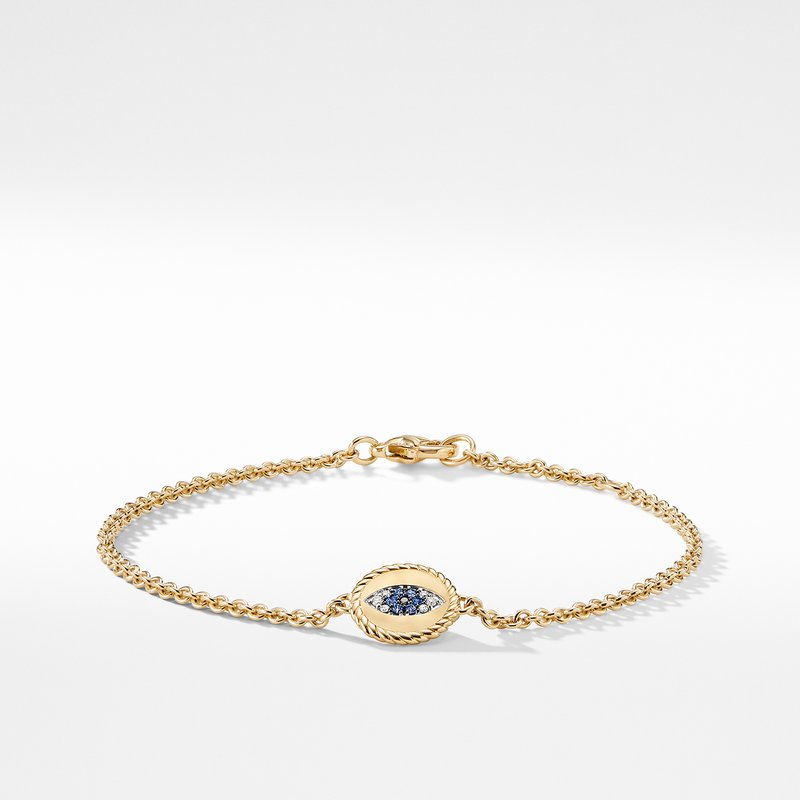 David Yurman Cable Collectibles Evil Eye Charm with Blue Sapphire Diamonds and Black Diamonds in 18K Gold
