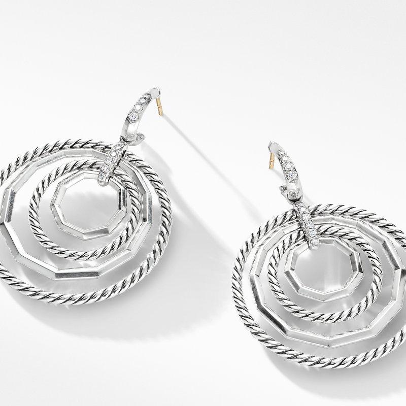 David Yurman Stax Large Drop Earrings with Diamonds