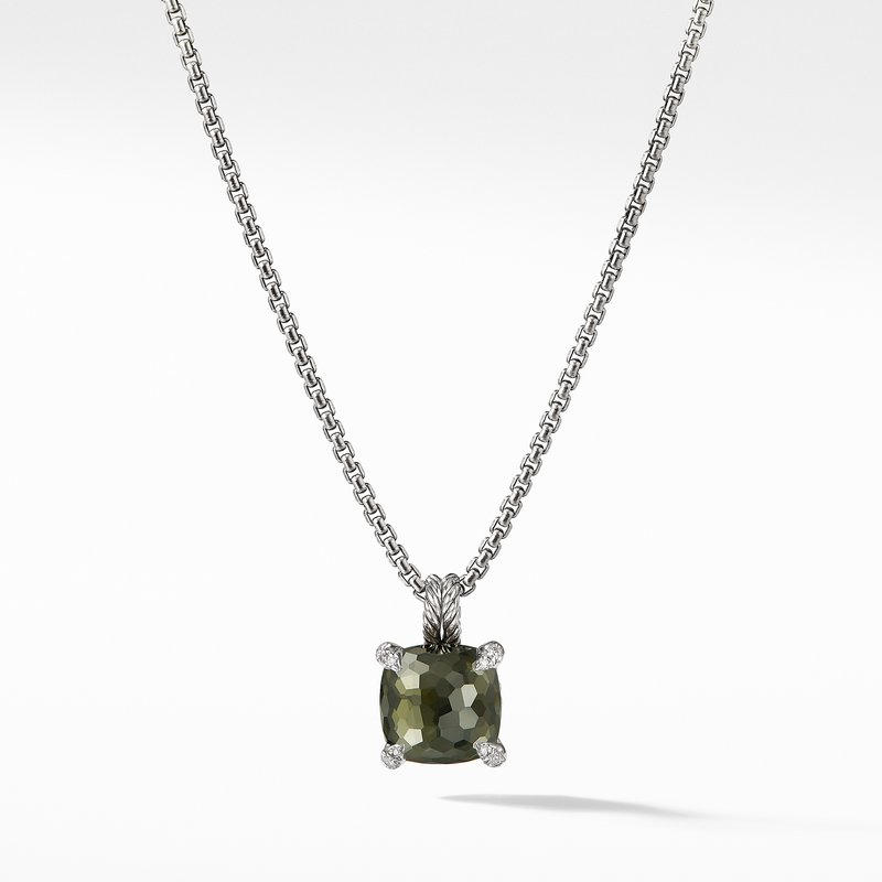 David Yurman Pendant Necklace with Green Orchid and Diamonds