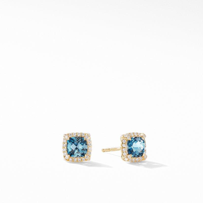 David Yurman Petite Chatelaine® Pavé Bezel Stud Earrings in 18K Yellow Gold with Hampton Blue Topaz