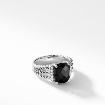 Petite Wheaton® Ring with Black Onyx and Diamonds