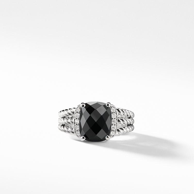 David Yurman Petite Wheaton® Ring with Black Onyx and Diamonds