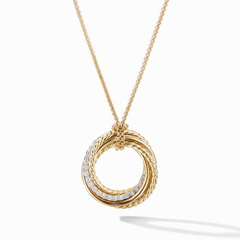 Crossover Pendant Necklace in 18K Yellow Gold with Diamonds