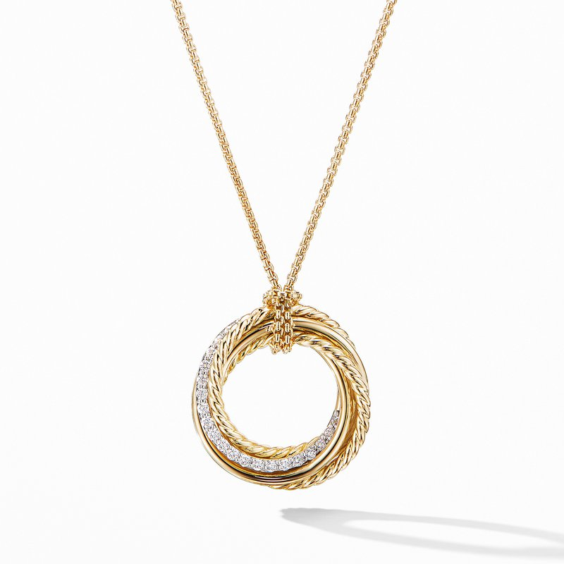 David Yurman Crossover Pendant Necklace in 18K Yellow Gold with Diamonds