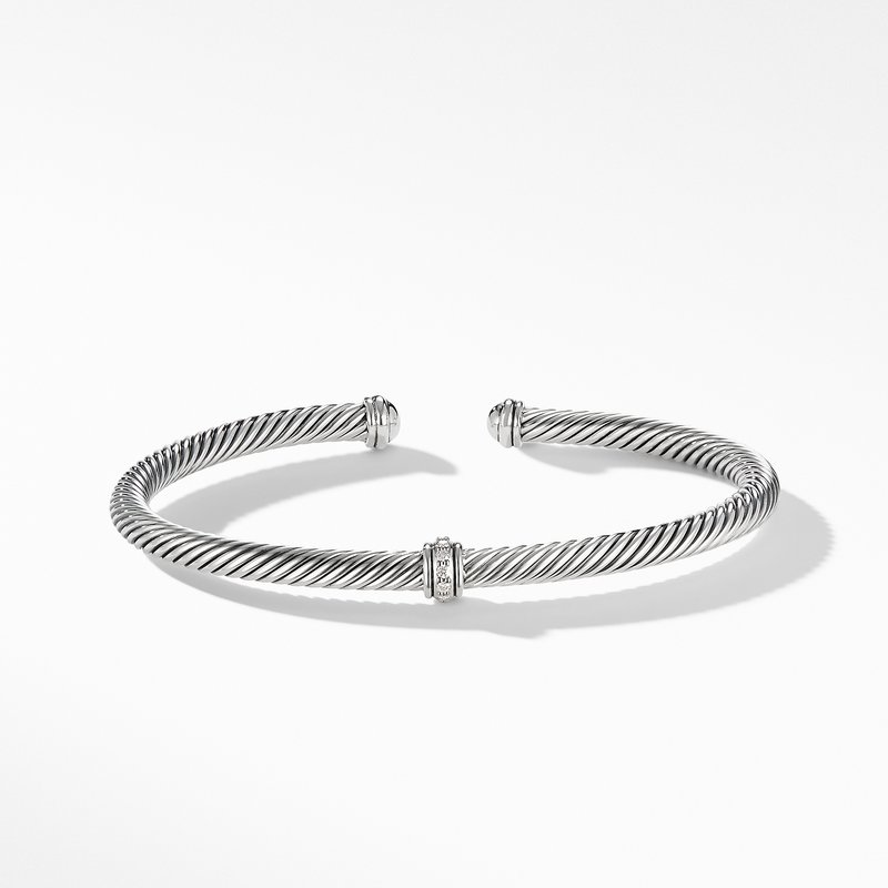 David Yurman Cable Classic Center Station Bracelet with Diamonds