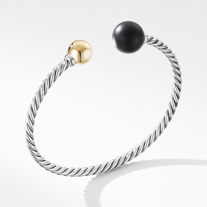 David Yurman Solari XL Cable Bracelet with Matte Black Onyx, Gold Dome and 14K Yellow Gold