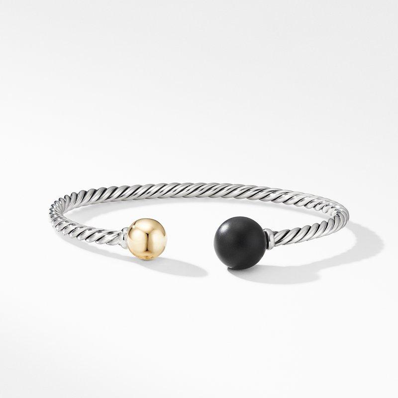 David Yurman Solari XL Cable Bracelet with Matte Black Onyx, Gold Dome and 14K Yellow Gold
