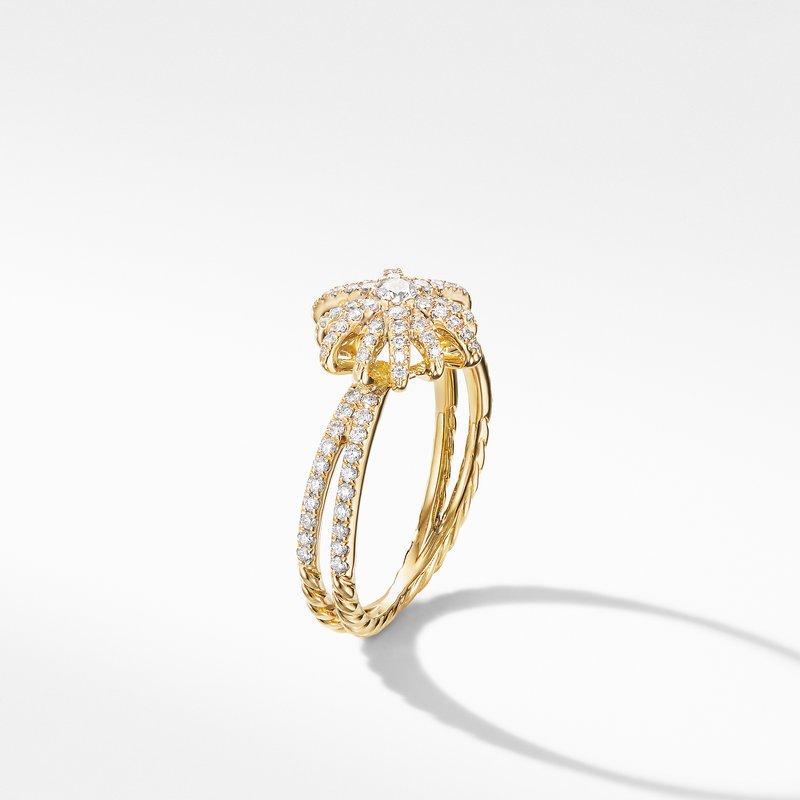 David Yurman Starbust Ring in 18K Yellow Gold with Pavé Diamonds