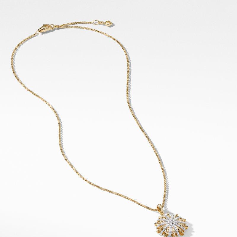 David Yurman Starburst Pendant Necklace with Diamonds in Gold