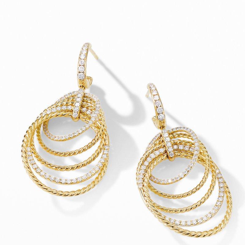 David Yurman DY Origami Drop Earrings in 18K Yellow Gold with Diamonds
