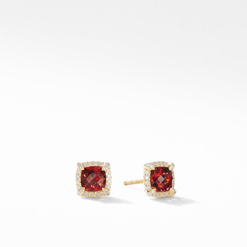 David Yurman Petite Chatelaine® Pavé Bezel Stud Earrings in 18K Yellow Gold with Garnet