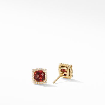 Petite Chatelaine® Pavé Bezel Stud Earrings in 18K Yellow Gold with Garnet