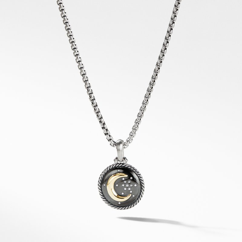 David Yurman Moon and Star Amulet with Diamonds and 18k Gold