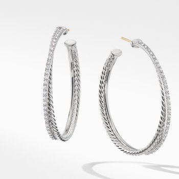 Crossover XL Hoop Earrings with Diamonds