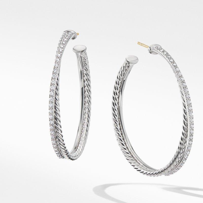 David Yurman Crossover XL Hoop Earrings with Diamonds