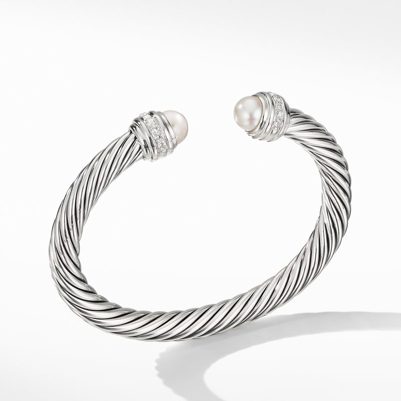 David Yurman Cable Bracelet with Pearls and Diamonds