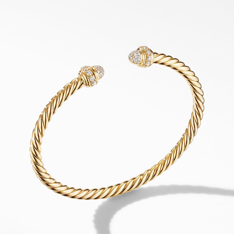 David Yurman Cable Bracelet in 18K Yellow Gold with Diamonds