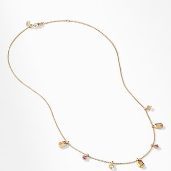 Novella Necklace in Spessartite Garnet and Yellow Beryl with Diamonds