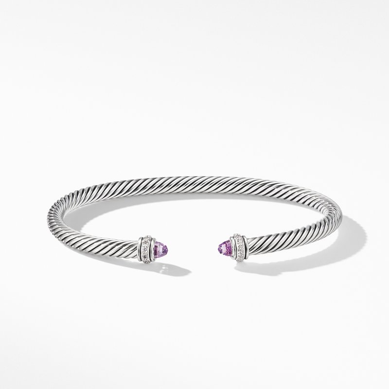 David Yurman Cable Classic Bracelet with Amethyst and Diamonds