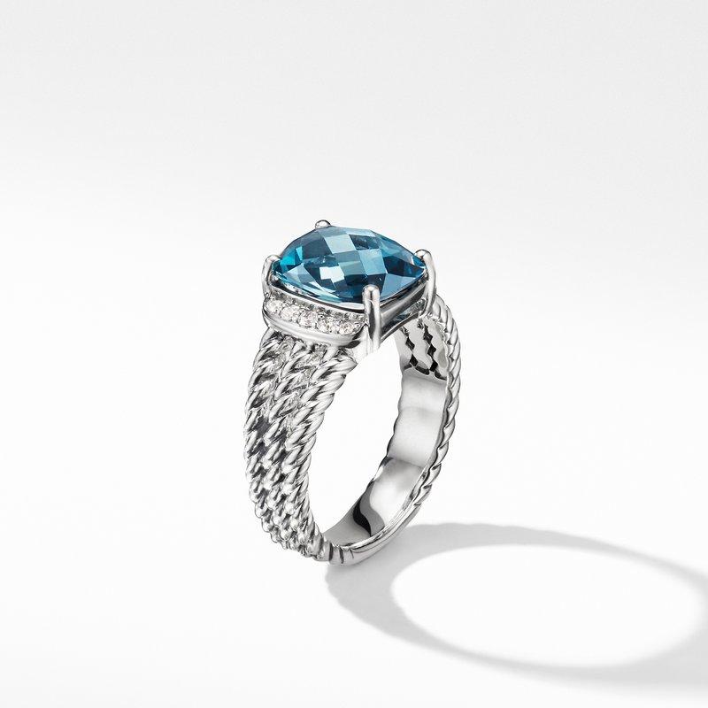 David Yurman Petite Wheaton® Ring with Hampton Blue Topaz and Diamonds