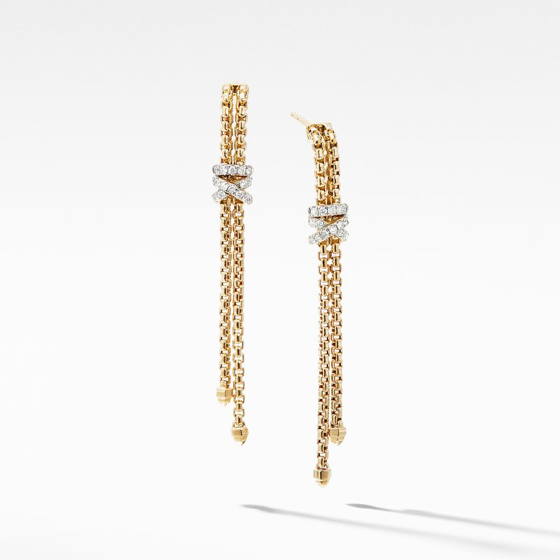 David Yurman Helena Box Chain Earrings in 18K Yellow Gold with Diamonds