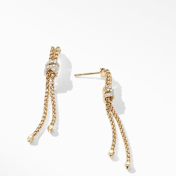 Helena Box Chain Earrings in 18K Yellow Gold with Diamonds