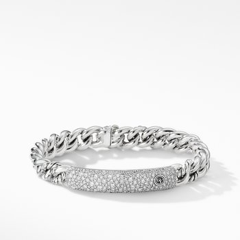 Belmont Curb Link ID Bracelet with Pavé Diamonds