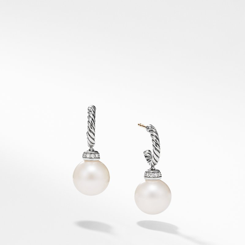 David Yurman Solari Hoop Earrings with Diamond and Freshwater Pearl