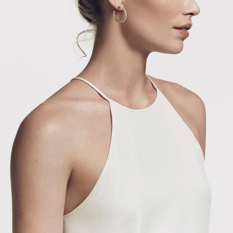 David Yurman Crossover Medium Hoop Earrings in 18K Yellow Gold with Diamonds