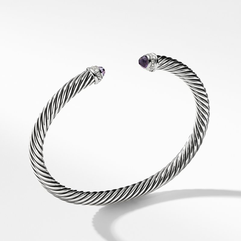 David Yurman Cable Classics Bracelet with Amethyst and Diamonds,