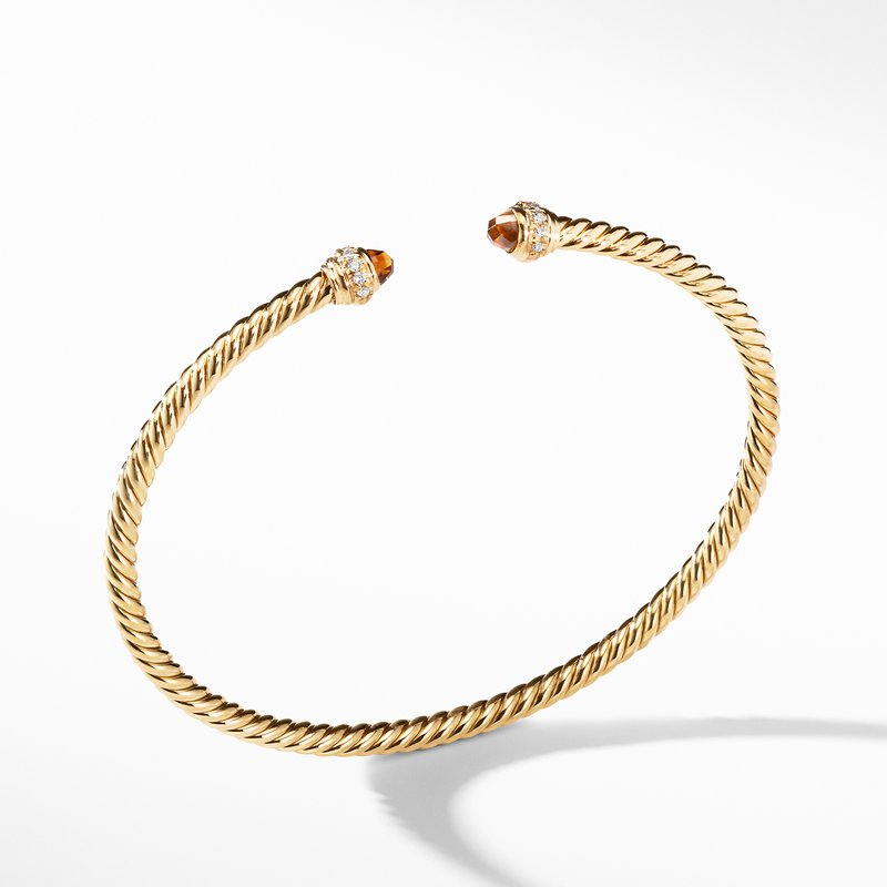 David Yurman Cable Spira® Bracelet in 18K Gold with Madeira Citrine and Diamonds, 3mm