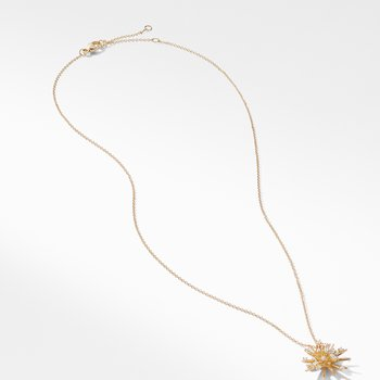 Supernova Small Pendant Necklace with Diamonds in 18K Gold