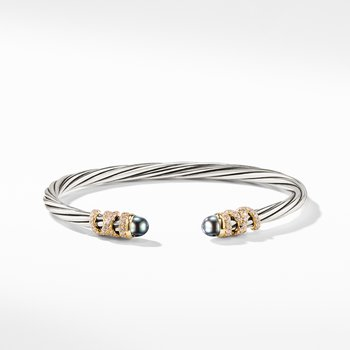 Helena End Station Bracelet with Gray Pearls, Diamonds and 18K Gold, 4mm