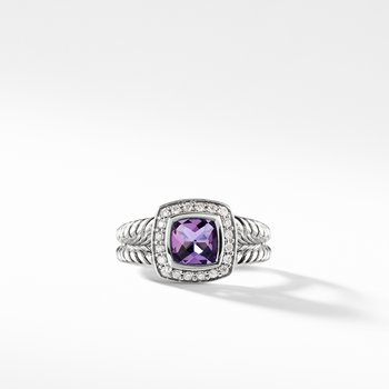 Petite Albion® Ring with Amethyst and Diamonds