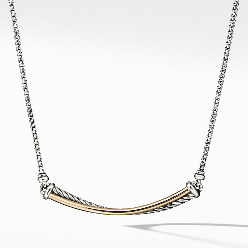 David Yurman Crossover Bar Necklace with 18K Gold