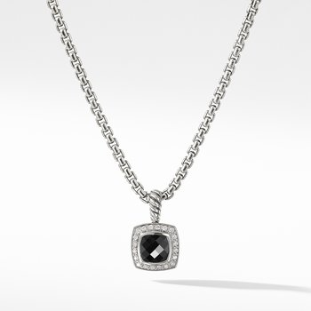 Petite Albion® Pendant Necklace with Black Onyx and Diamonds