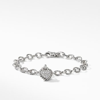 Cable Cookie Classic Heart Charm Bracelet  with Diamonds