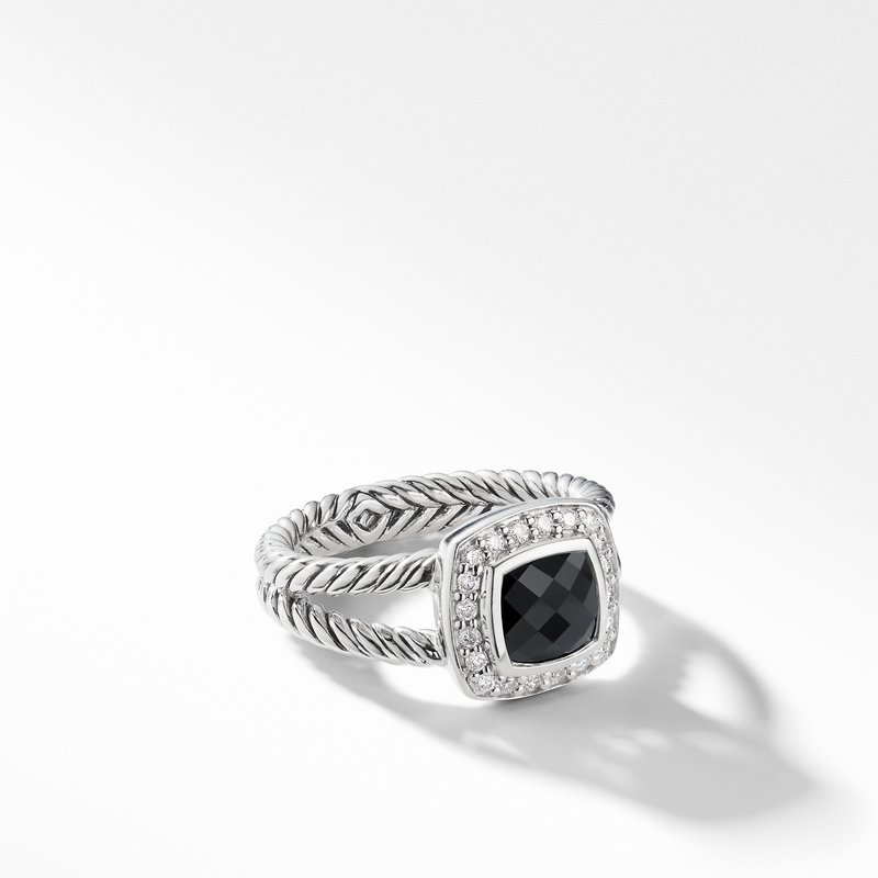 David Yurman Petite Albion® Ring with Black Onyx and Diamonds