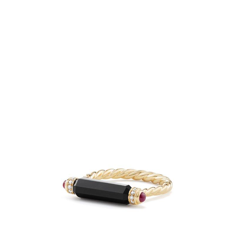 David Yurman Barrels Ring with Black Onyx Rubies and Diamonds in 18K Gold