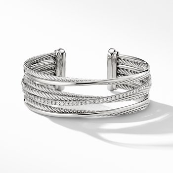 The Crossover Collection® Four-Row Cuff Bracelet with Diamonds