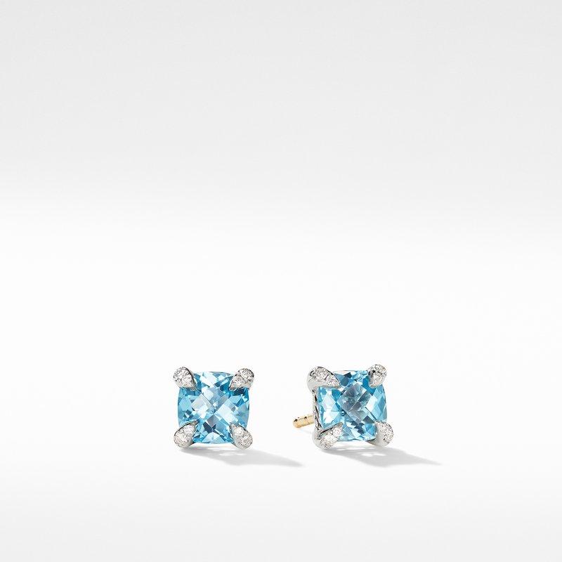 David Yurman Chatelaine® Stud Earrings with Blue Topaz and Diamonds